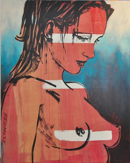 DAVID BROMLEY, ROMY ( IN ORANGE) 2012, MIXED MEDIA ON CANVAS