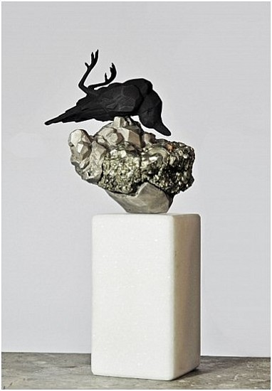 RINA STUTZER, THE COLLECTOR BRONZE,PATINA, IRON PYRITE CRYSTAL(FOOLS GOLD)