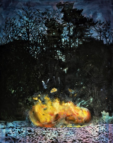 MATTHEW HINDLEY, # FIREBALL IN NOCTURNAL LIGHT 2016, OIL AND OILSTICK ON CANVAS