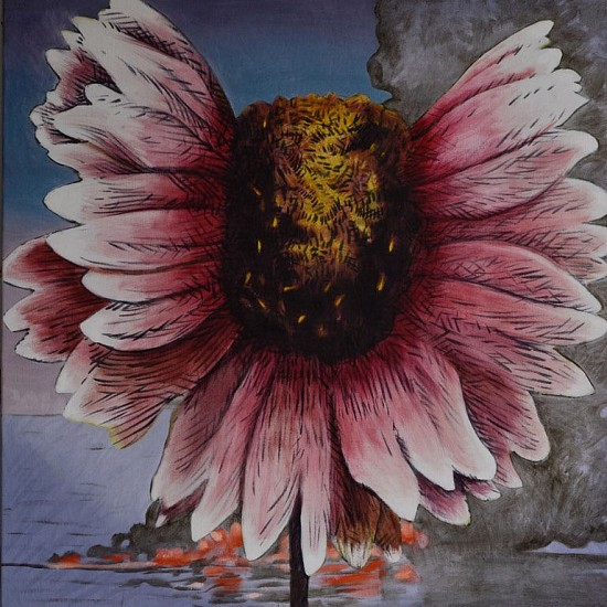 MATTHEW HINDLEY, HOT PETALS I OIL AND PASTEL ON CANVAS