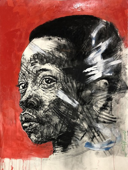 NELSON MAKAMO, BOY IN RED 2018, CHARCOAL AND PASTEL ON PAPER