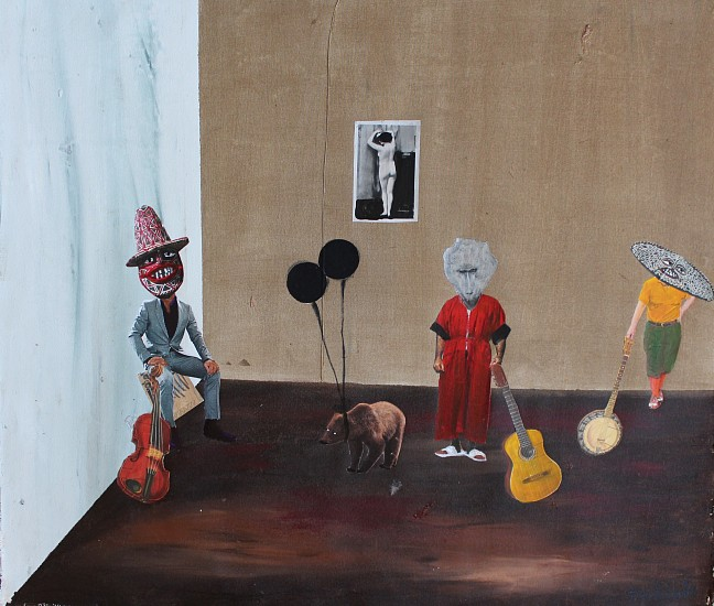 TERESA KUTALA FIRMINO, A BAND OF BABOONS ACRYLIC AND COLLAGE ON CANVAS