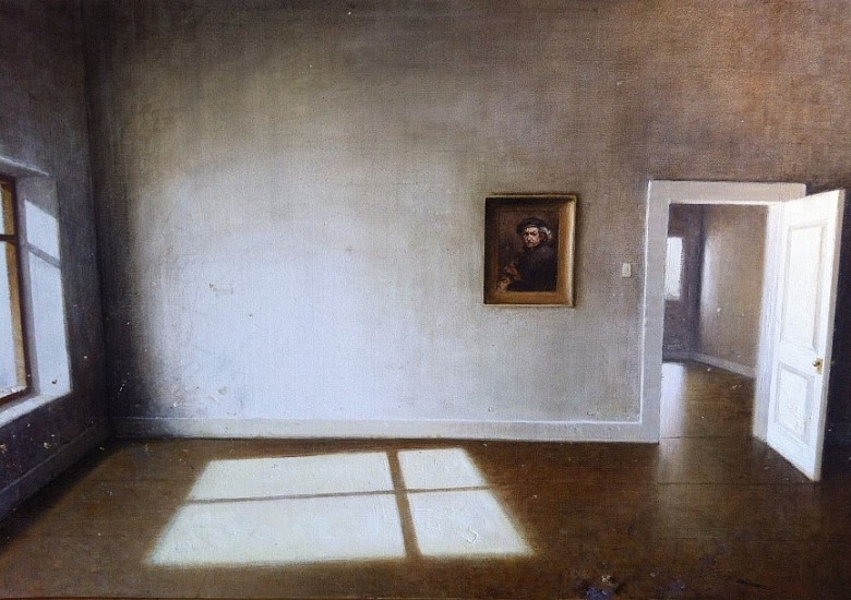 HAROLD VOIGT, INTERIOR WITH REMBRANDT OIL  ON CANVAS