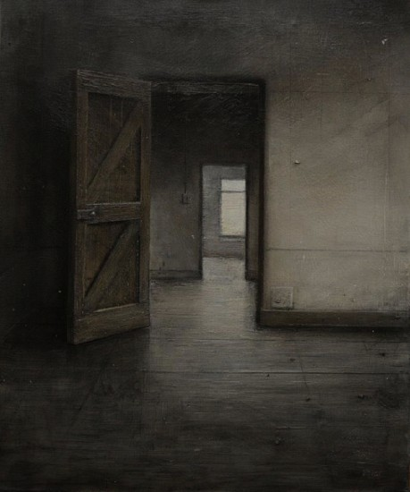 HAROLD VOIGT, DOORWAYS-10/19 2019, CHARCOAL AND MIXED MEDIA ON CANVAS
