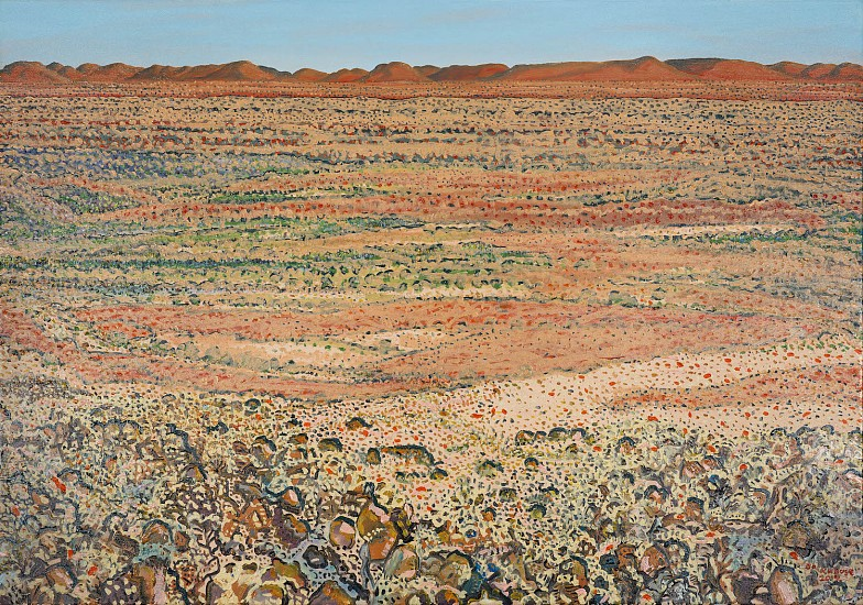 BRUCE BACKHOUSE, From above Dedeben Pan looking East, Tswalu 2019, OIL  ON CANVAS
