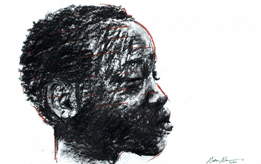 NELSON MAKAMO, UNTITLED II 2020, CHARCOAL AND PASTEL ON ARCHES PAPER