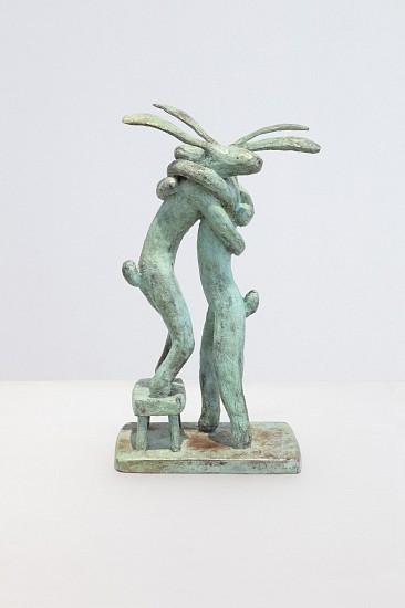 GUY PIERRE DU TOIT, HUGGING HARES ON A BENCH 2020, BRONZE