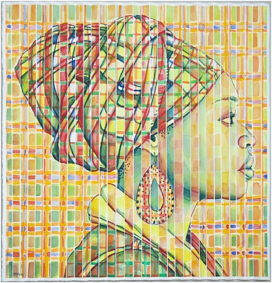 GARY STEPHENS, PLAID LETICIA WITH MASAI EARRING 2019, WATERCOLOUR ON FOLDED PAPER