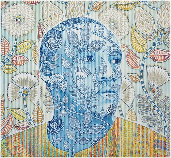 GARY STEPHENS, BLUE PAUL WITH SEED POD FABRIC PATTERN 2020, NEWSPRINT COLLAGE AND CHALK PASTEL ON FOLDED PAPER