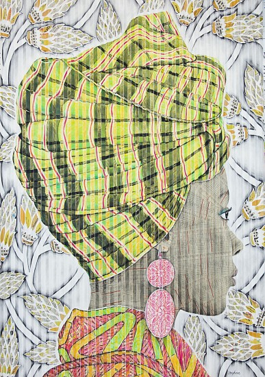 GARY STEPHENS, BUYANE, PINK EARRING AND CHARTREUSE PLAID SCARF 2020, CHALK PASTEL, CHARCOAL, AND NEWSPRINT COLLAGE ON FOLDED PAPER