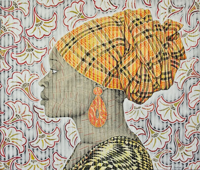 GARY STEPHENS, LETICIA, YELLOW MASAI SCARF 2020, CHALK PASTEL, CHARCOAL, AND NEWSPRINT COLLAGE ON FOLDED PAPER
