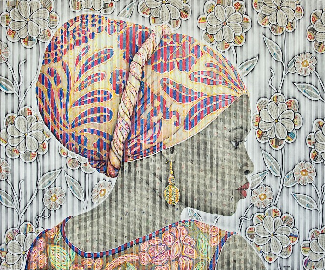 GARY STEPHENS, MPUMI WITH FLORAL SCARF AND RAFFIA SPIRAL EARRING 2020, CHALK PASTEL, CHARCOAL, AND NEWSPRINT COLLAGE ON FOLDED PAPER