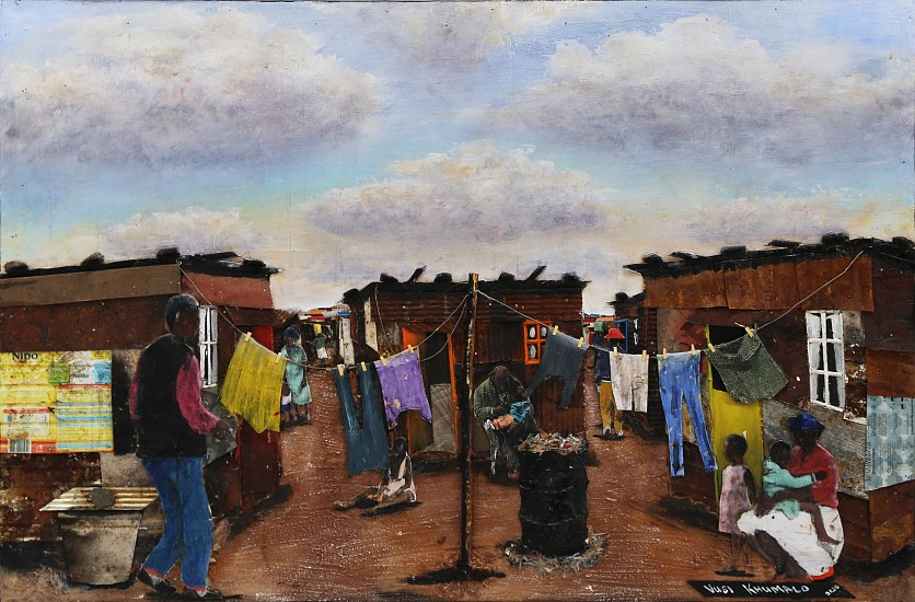 VUSI KHUMALO, MAZIMBU INFORMAL SETTLEMENT 2020, MIXED MEDI A ON CANVAS